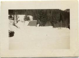 Rainbow Lodge cabins in heavy snow