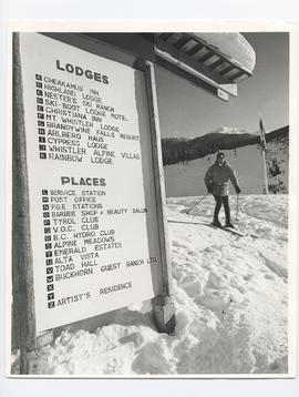 Skier with Service Sign