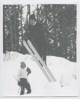 Close up of Skier Jumping