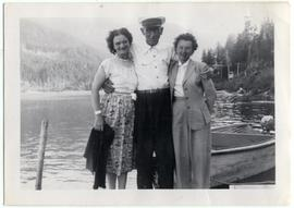 Peggy Thompson, Alex Phillip and Billie on dock at Alta Lake