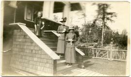 Jean Tapley & Elsie Philip outside Myrtle & Alex's Vancouver home