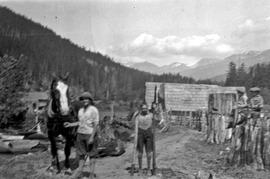 Jardine family with a horse on the Jardine-Neiland Ranch at 34 1/2 Mile