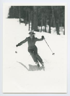 Woman Skiing Straight Toward Lens