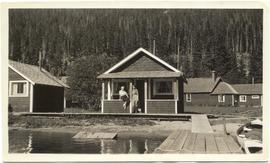 Myrtle and Rhi at an Alta Lake cottage