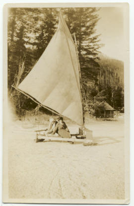 Myrtle Philip and Agnes Harrop ice-boating on Alta Lake