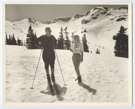 Franz and Annette Wilhelmsen at the top of Whistler, looking toward Peak