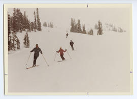 Jack Bright Leading Margaret and Pierre Trudeau Down a Ski Run
