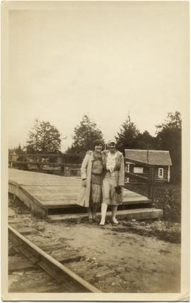 Myrtle Philip and Lenor Einher at Rainbow Lodge Station